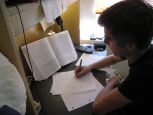 A man practicing for NYS Civil Service Exam
