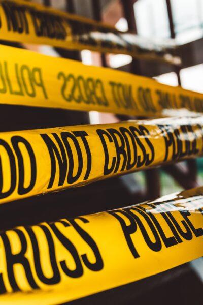 : Police tape marking a crime scene
