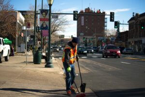 NYC Sanitation worker on duty