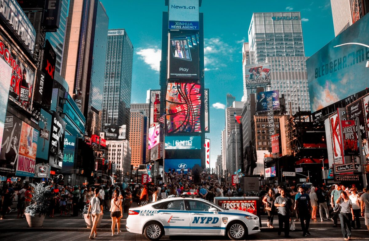 NYPD car parked at the Times Square
