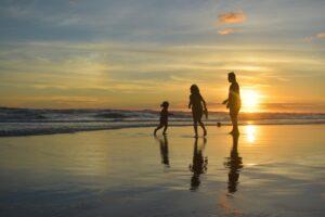 Family enjoying the beach in vacation