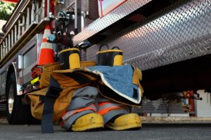 Boots and pants of a firefighter