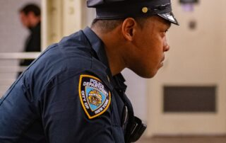 A policeman on duty